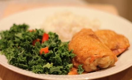 Kylling, grønkålssalat